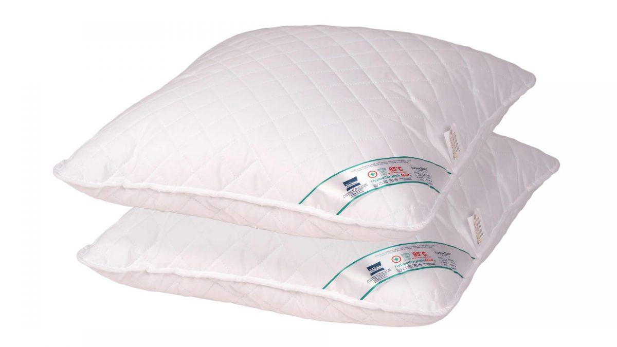 SET 2 Perne Medicinale Hipoalergenice Somnart 70x70cm, HypoallergenicMed, matlasate, lavabile la 95 de grade, fermitate medie spre tare
