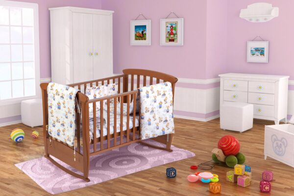 Set pentru patut bebe, cu aparatori, model Ursuleti