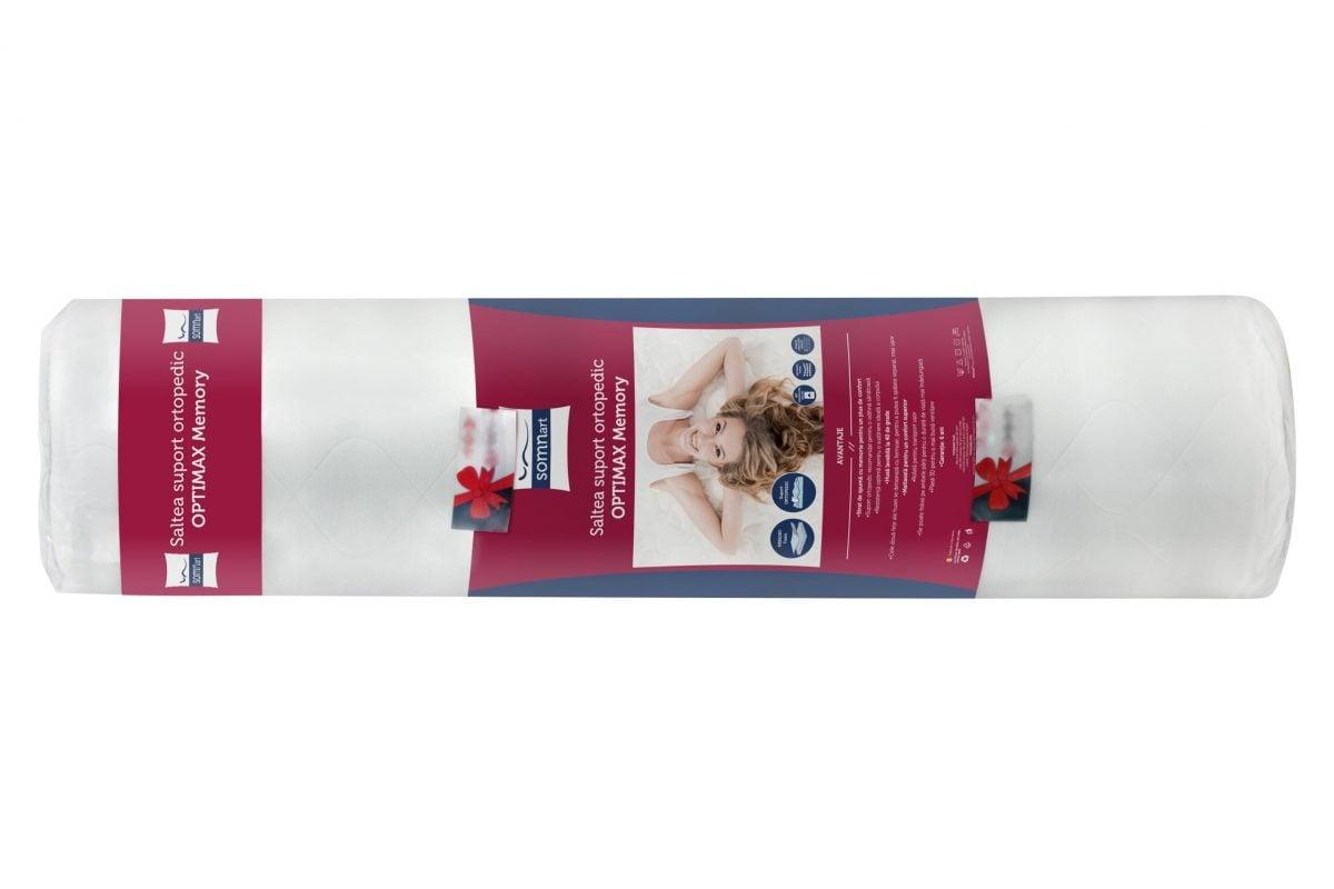Saltea Somnart Optimax Memory 180×200, H 18cm, spuma memorie si husa 3D detasabila si lavabila, rulata, cu manere si fermitate medie
