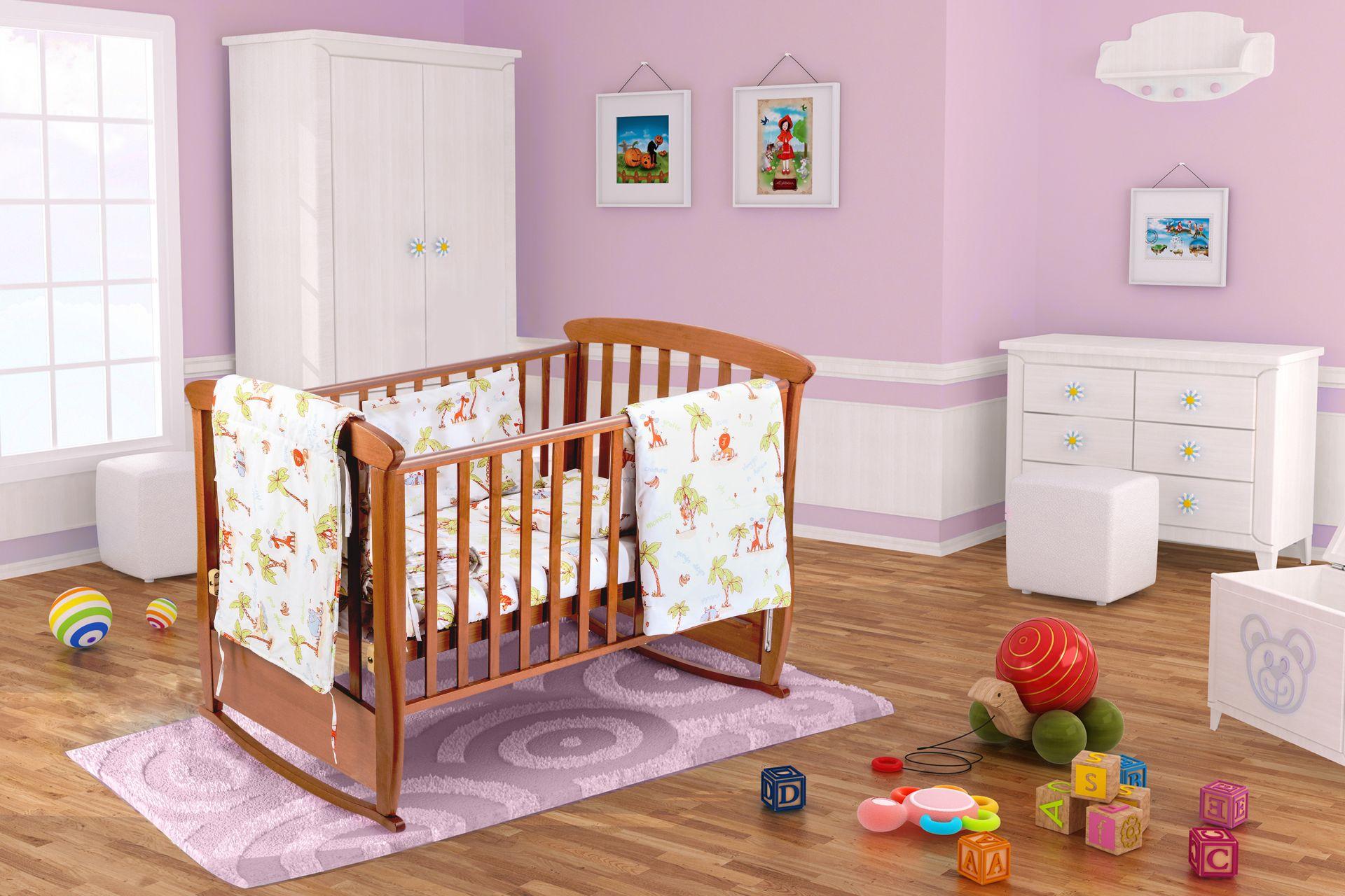 Set patut bebe, cearceaf cu elastic pentru saltea 60x120x10, pernuta 37×55, pilota 100×105, aparatori 180x45, model Jungle imagine 2021 somnart.ro