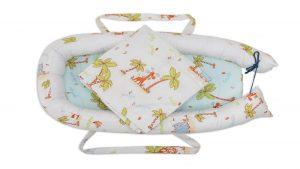 Baby Nest Somnart: Cosulet bebelusi + Salteluta 42x84x2 cm + Paturica 70×70 cm model Jungle