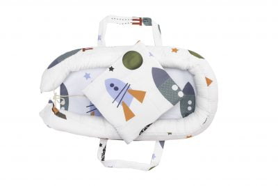 Baby Nest Somnart: Cosulet bebelusi + Salteluta 42x84x2 cm + Paturica 70×70 cm model Rachete