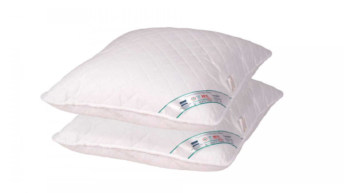 SET 2 Perne Medicinale Hipoalergenice Somnart 60x60cm, HypoallergenicMed, matlasate, lavabile la 95 de grade, fermitate medie spre tare