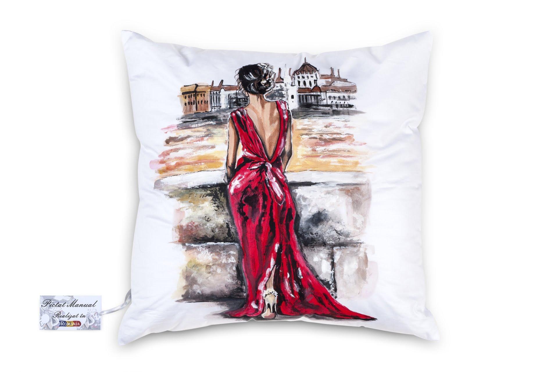 Perna Decorativa pictata manual 40x40 cm MC06