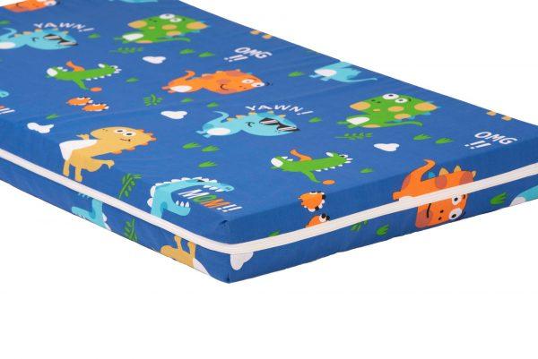 Saltea Pat Somnart Memory cu husa protectie impermeabila pentru bebelusi si copii model Dinozauri 60×120
