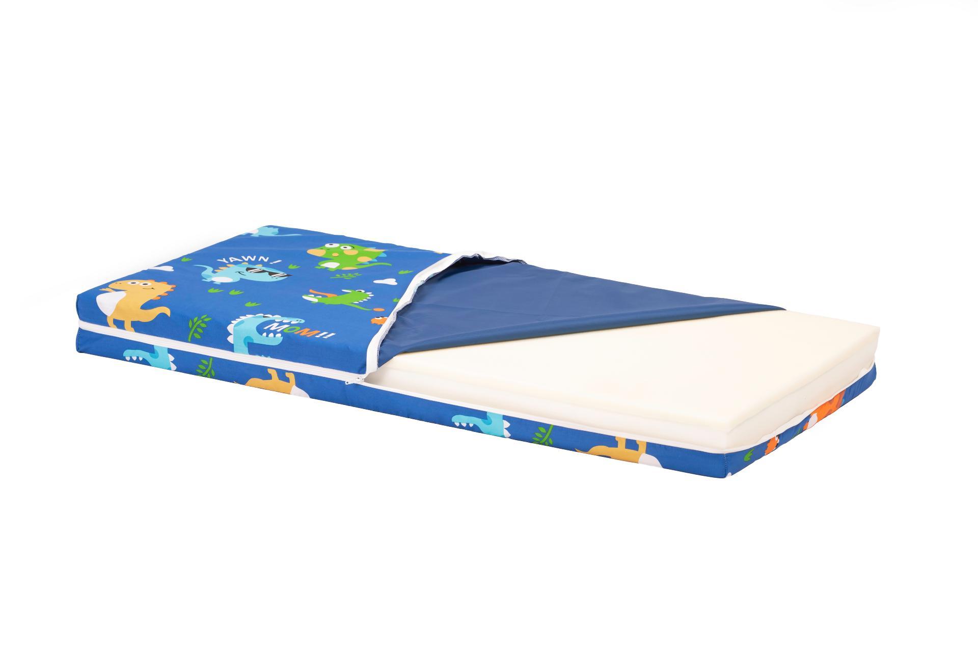 Saltea Pat Somnart Ortopedica cu husa protectie impermeabila pentru bebelusi si copii model Dinozauri 60x120 poza somnart.ro