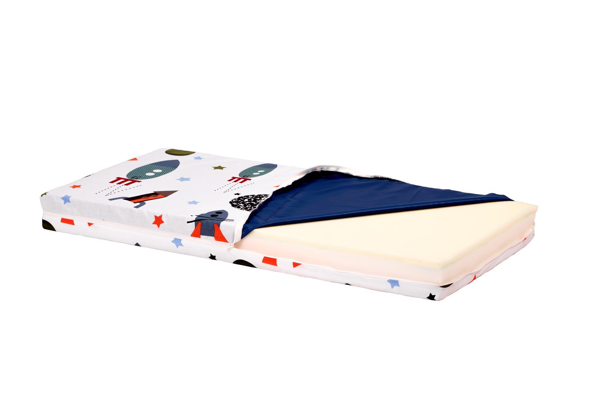 Saltea Pat Somnart Ortopedica cu husa protectie impermeabila pentru bebelusi si copii model Rachete 60x120 poza somnart.ro