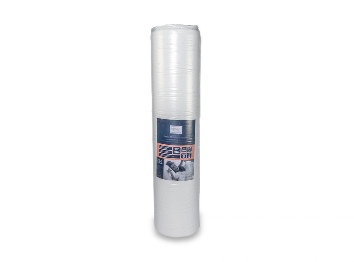 Saltea SmartFoam memorie Domine Memory Supreme 180x200x20cm spuma poliuretanica cu memorie 15cm Smart Foam + 5cm memory foam, husa lavabila si detasabila cu fermoar, fund anti-alunecare, rulata, fermitate medie