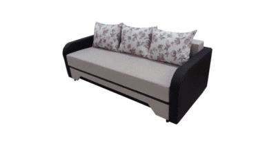 Canapea extensibilă Corina mare, crem/wenge, stofa/piele