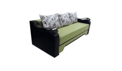 Canapea Sally mica, verde/wenge, stofa/piele