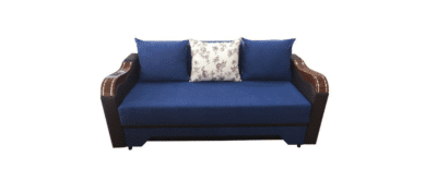 Canapea Bianca ABC, albastru/wenge, stofa/piele ecologica
