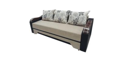 Canapea extensibilă Diana, beige/wenge, stofa/piele
