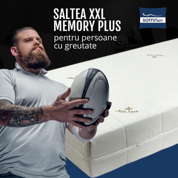 Saltea ortopedica Somnart XXL Memory Plus 90x200x25cm pentru persoane cu greutate, spuma poliuretanica cu memorie 22+3cm, husa Aloe Vera detasabila si lavabila, nerulata, fermitate mare