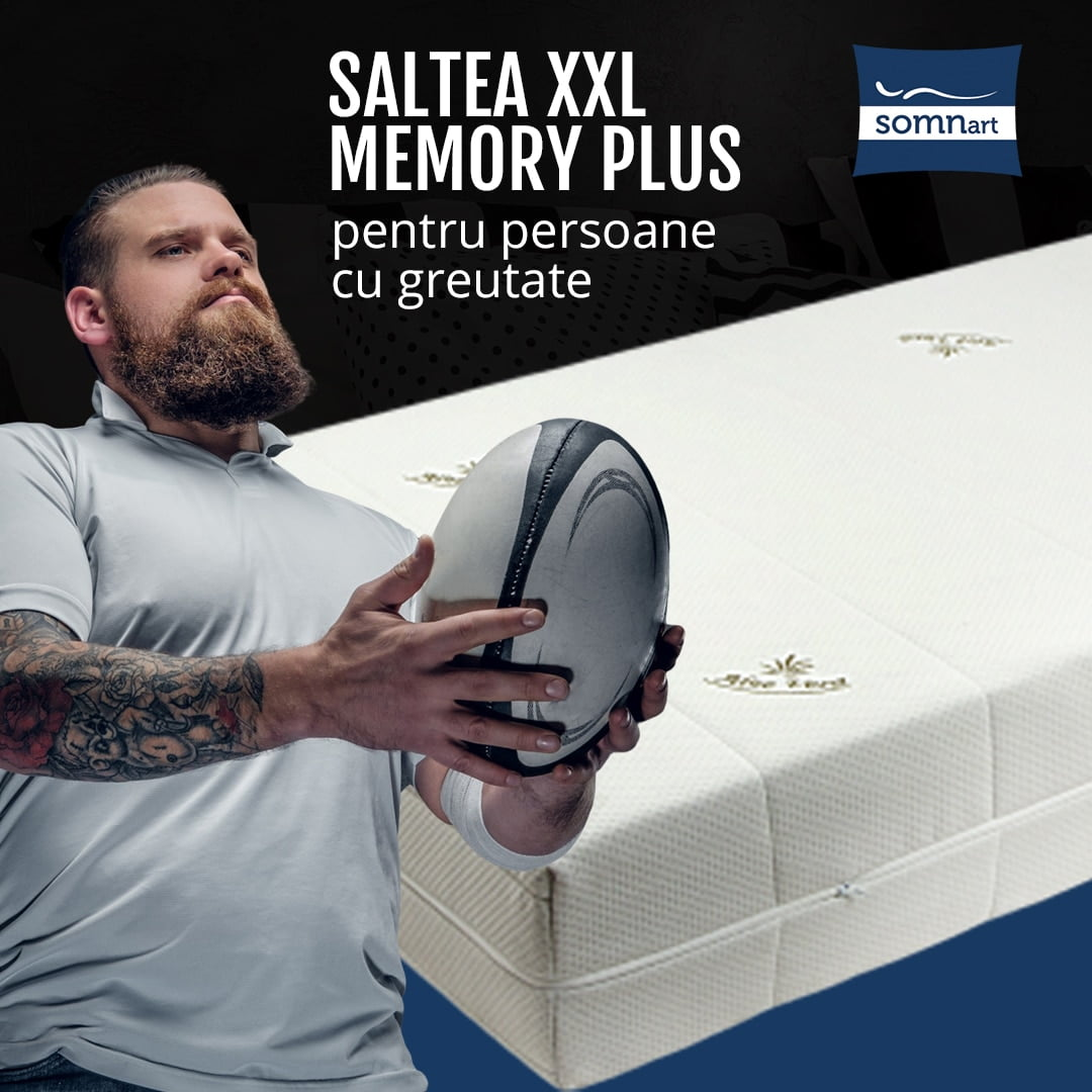 Saltea ortopedica Memorie 160×200, H 25cm, Somnart XXL Memory Plus persoane supraponderale, husa Aloe Vera detasabila, nerulata, fermitate mare