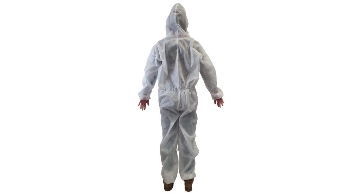 Combinezon unica folosinta, alb, material polipropilena TNT, 40 g/mp – L