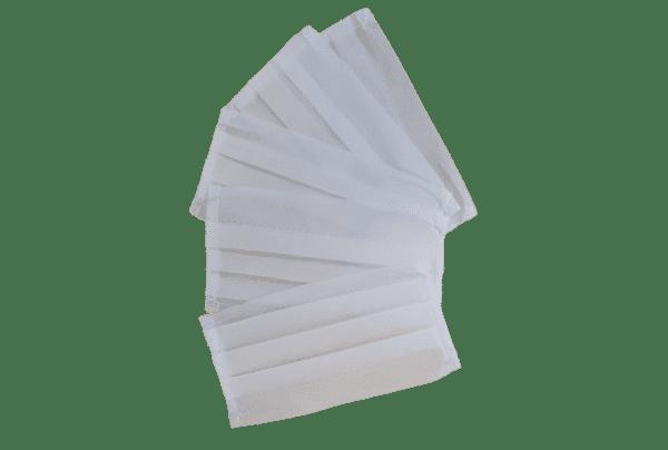 Set 10 x Mască albă pentru gură și nas, nețesut polipropilenă, 2 straturi, 3 pliuri (10 bucăți măști)