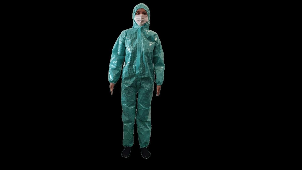Combinezon material impermeabil, refolosibil, fas poliester impermeabil, cu fermoar, gluga si elastice, autoclavabil – XL