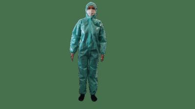Combinezon impermeabil Protectiv®, material nețesut laminat, cu fermoar, glugă și elastice