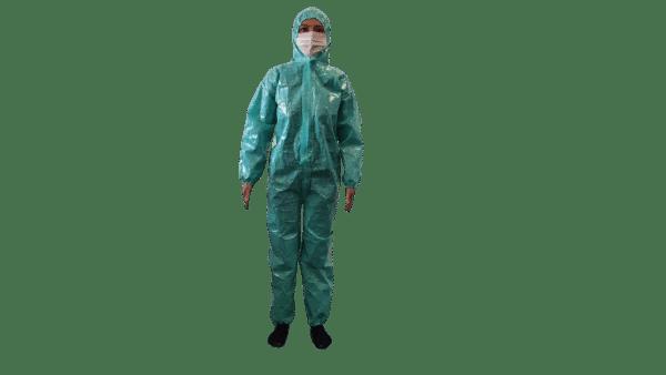 Combinezon material impermeabil, refolosibil, fas poliester impermeabil, cu fermoar, gluga si elastice, autoclavabil – M