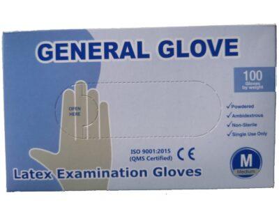 SET 100 x Mănuși albe, LATEX, pentru protecție mâini, ușor pudrate