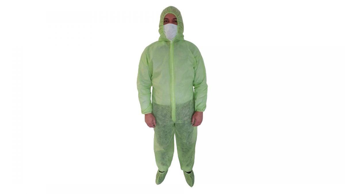 Combinezon unica folosinta, verde, material polipropilena TNT, 40 g/mp – L