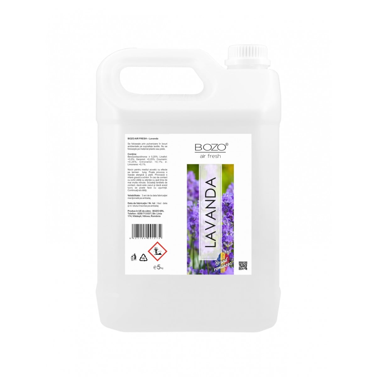 Odorizant ambiental concentrat cu aroma lavanda, Bozo Air Fresh - Lavender - 5 litri imagine 2021 somnart.ro