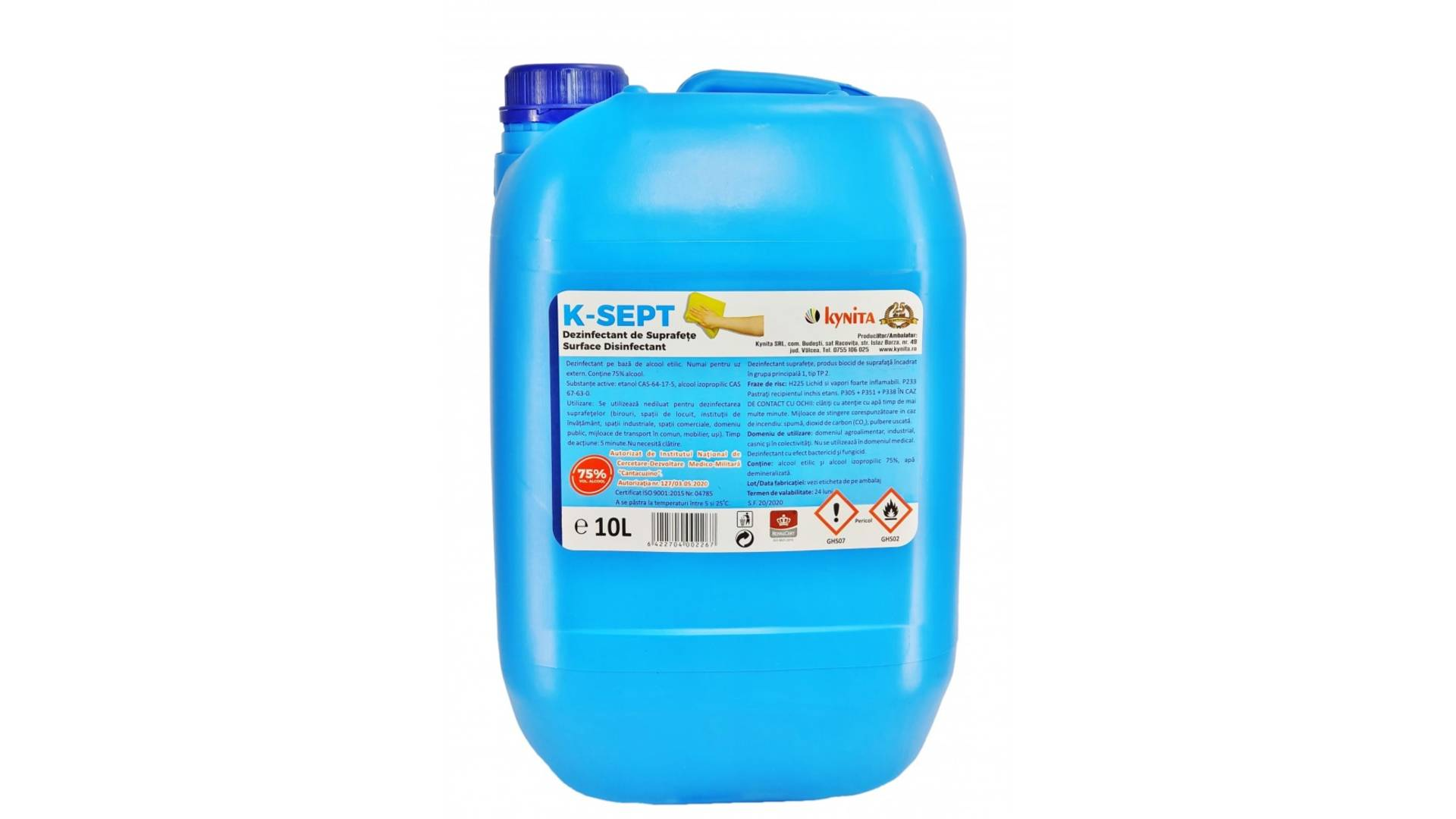 Dezinfectant de suprafete bidon 10 litri, alcool 75% imagine 2021 somnart.ro