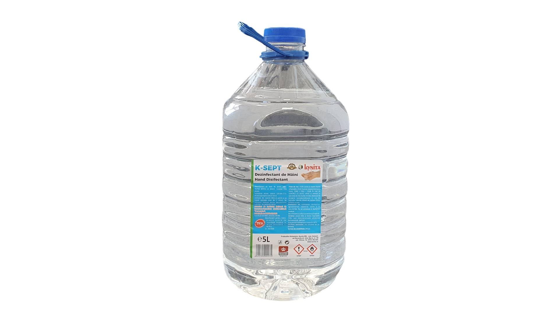 Dezinfectant virucid de maini bidon PET 5 litri, 75% alcool, avizat virucid, bactericid si fungicid imagine 2021 somnart.ro