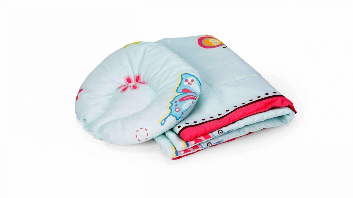 Set reductor bebe nest + paturica + pernuta formarea capului bebelusului, model Fluturi
