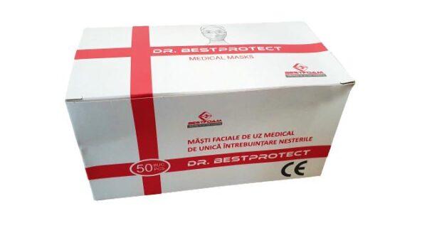 Masca chirurgicala de protectie de unica folosinta, tip IIR filtru Meltblown, marcaj CE, filtrare 98%, 3 straturi, 3 pliuri (50 bucati masti)