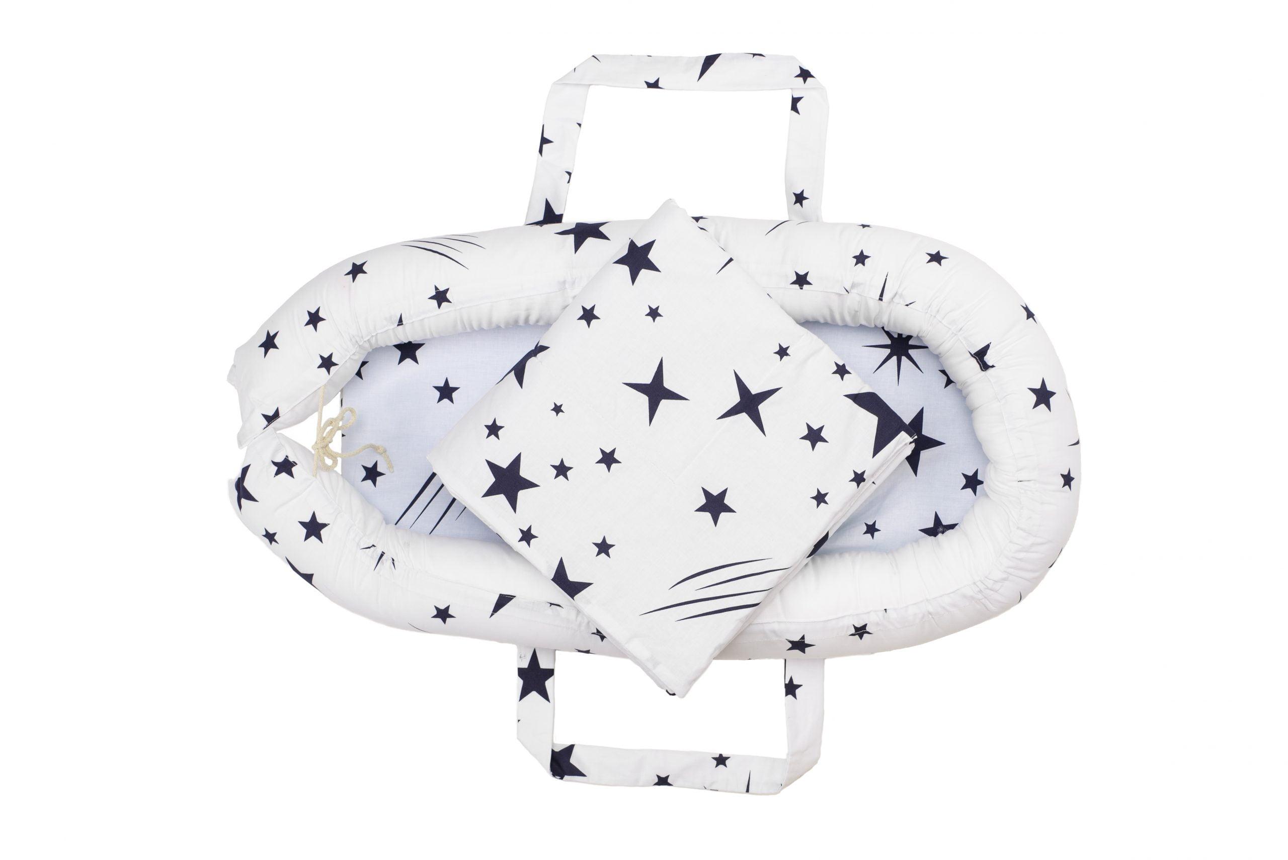 Baby Nest Somnart: Cosulet bebelusi + Salteluta 42x84x2 cm + Paturica 70x70 cm model Stelute imagine 2021 somnart.ro