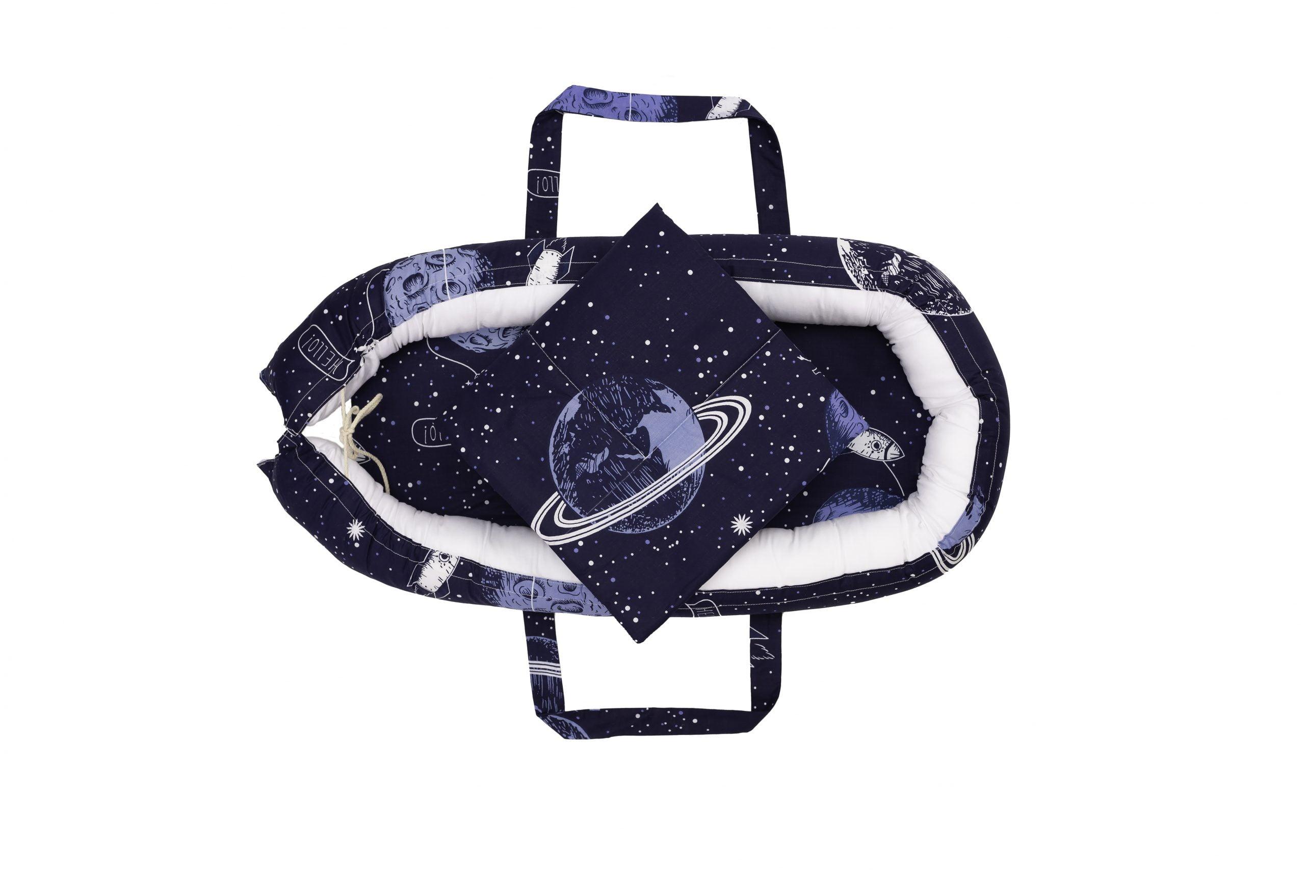Baby Nest Somnart: Cosulet bebelusi + Salteluta 42x84x2 cm + Paturica 70x70 cm model Cosmos imagine 2021 somnart.ro