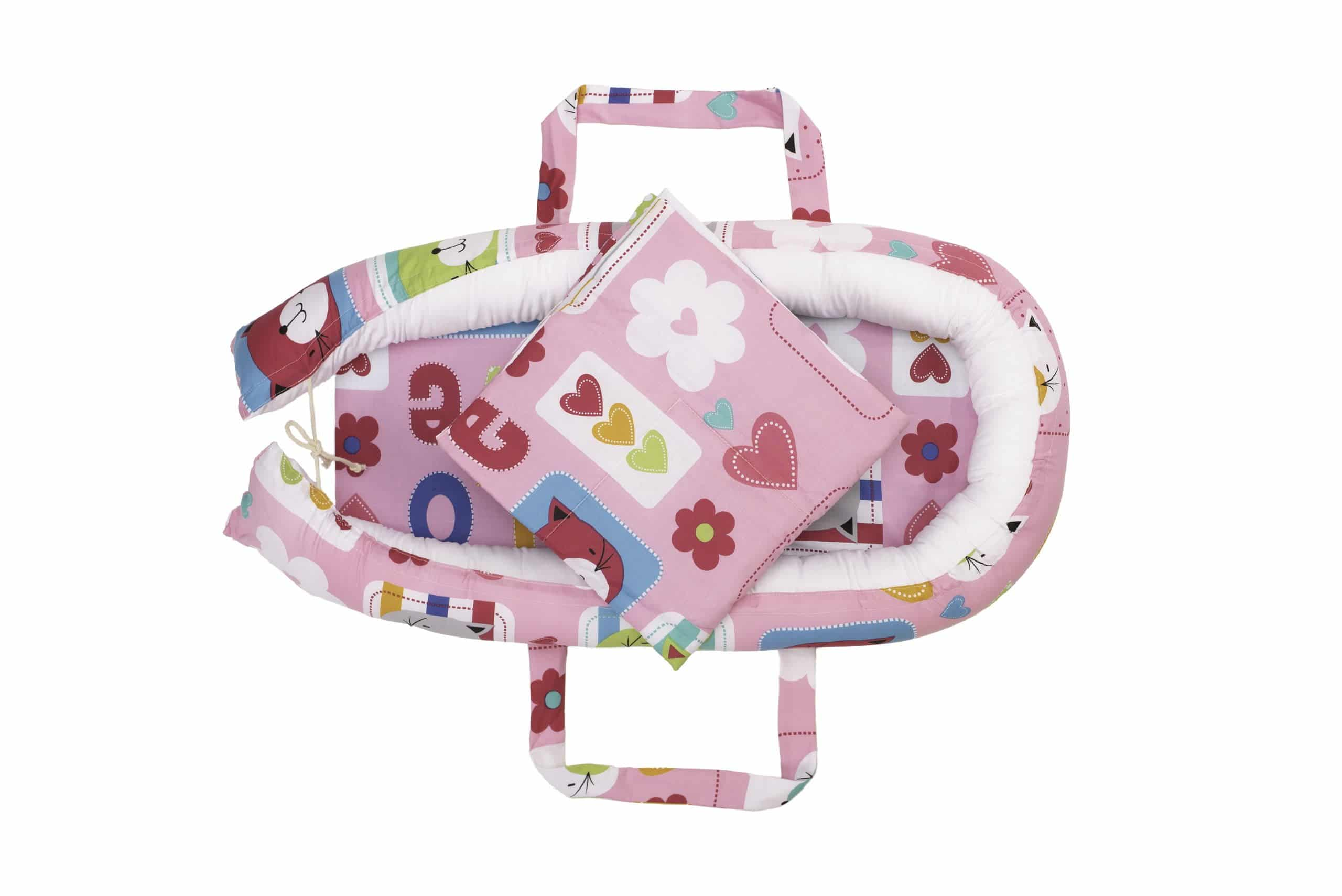 Baby Nest Somnart: Cosulet bebelusi + Salteluta 42x84x2 cm + Paturica 70x70 cm model Pisicute imagine 2021 somnart.ro