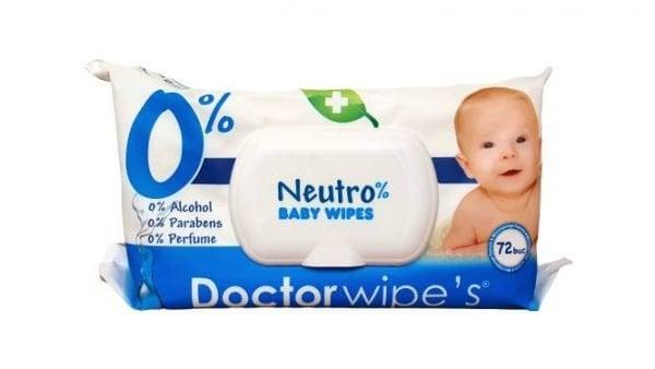 Servetele Umede Bebelusi Doctor Wipe's 72 buc cu Capac Neutro