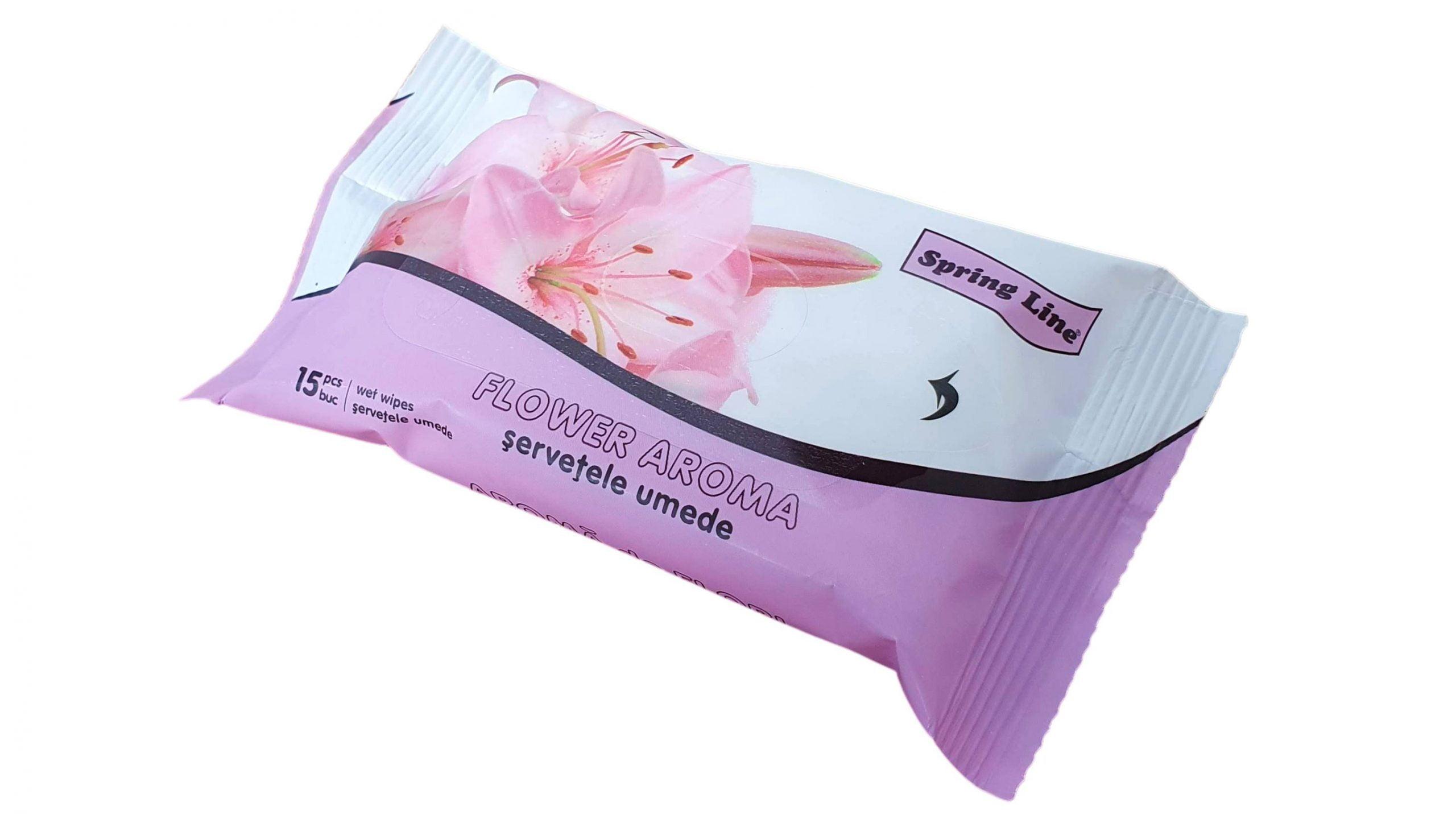 Servetele Umede Igienice Universale 15 buc Spring Line cu Aroma Florala imagine 2021 somnart.ro
