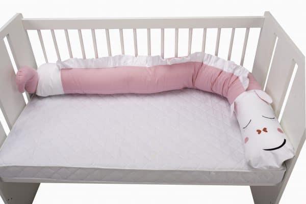Protecție laterală pentru pătuț, Dragon, Roz, 25×180 cm