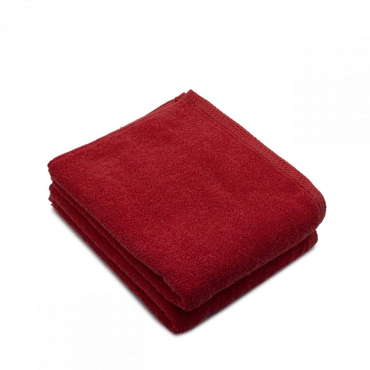 Set 2 prosoape de fata bumbac 100%, 600gsm, Somnart, 50x90cm, rosu
