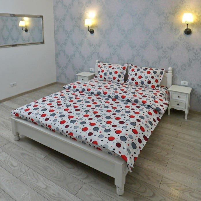 Lenjerie pentru 2 persoane Somnart, bumbac 100%, model cercuri poza somnart.ro