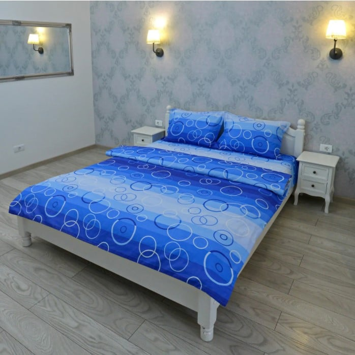 Lenjerie pentru 2 persoane Somnart, bumbac 100%, albastru, model cercuri poza somnart.ro
