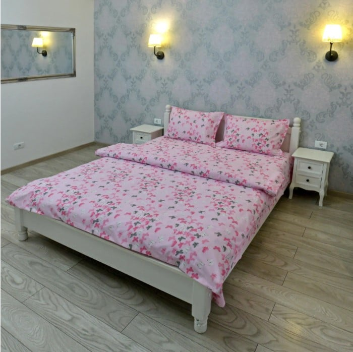Lenjerie pentru o persoana Somnart, bumbac 100%, roz poza somnart.ro
