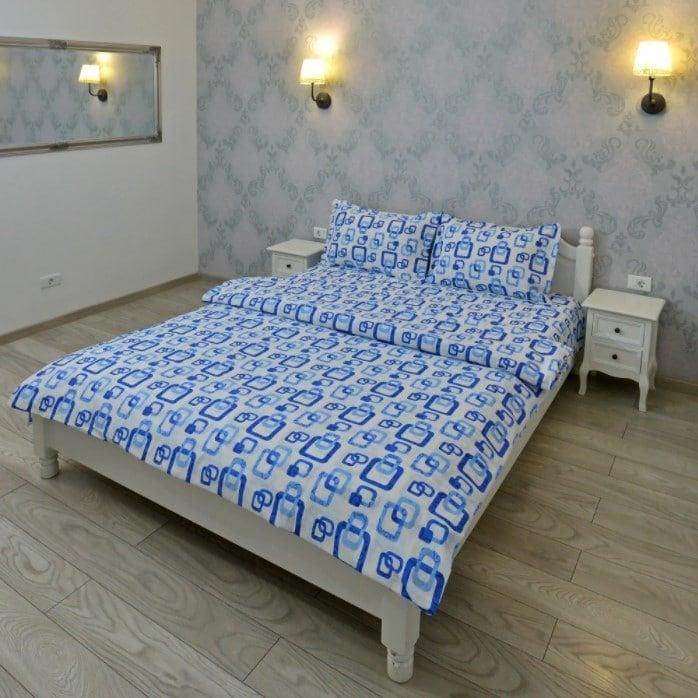 Lenjerie pentru 2 persoane Somnart, bumbac 100%, albastru, model patrate poza somnart.ro