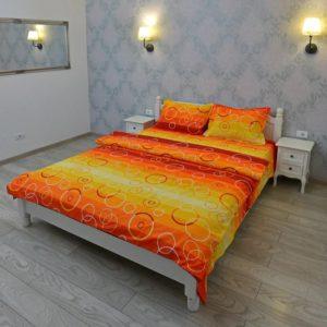 Lenjerie pentru 2 persoane Somnart, bumbac 100%, portocaliu, model cercuri