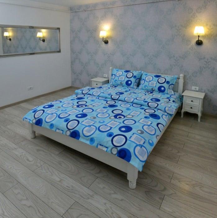 Lenjerie pentru 2 persoane Somnart, bumbac 100%, bleu, model cercuri poza somnart.ro