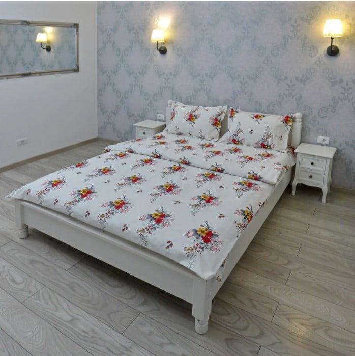 Lenjerie pentru 2 persoane Somnart XXL, bumbac 100%, model flori poza somnart.ro