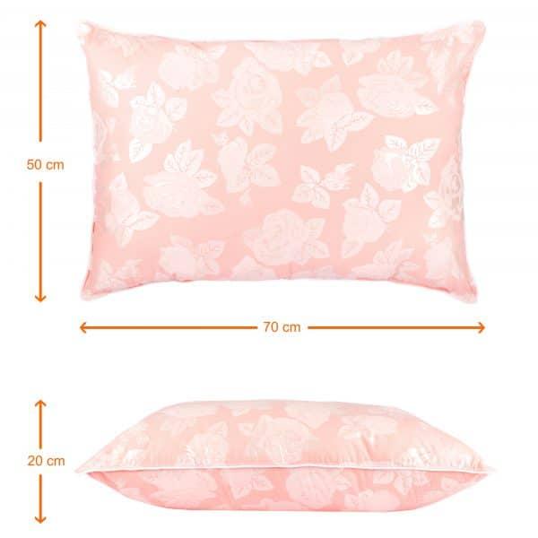 Perna SOMNART, 50×70 cm, umplutura pene 90%, puf 10%, bumbac 100%, model floral roz
