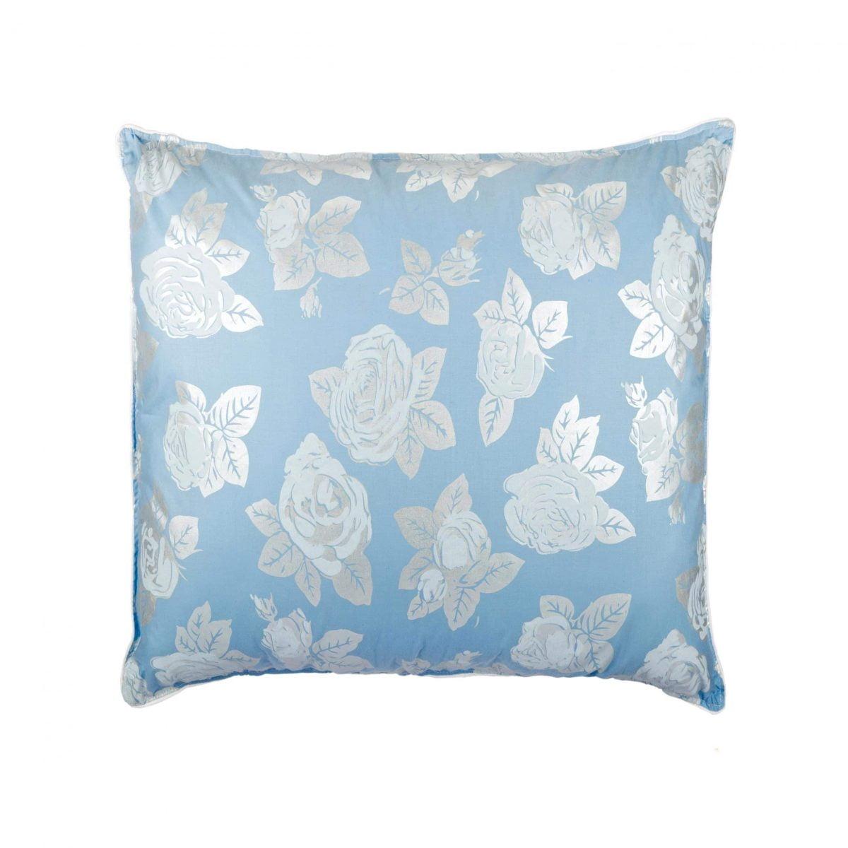 Perna SOMNART, 60×60 cm, umplutura pene 90%, puf 10%, bumbac 100%, model floral blue