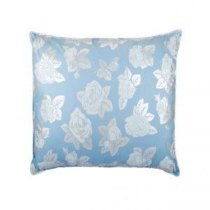 Perna SOMNART, 70×70 cm, umplutura pene 90%, puf 10%, bumbac 100%, model floral blue