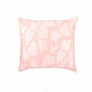 Perna SOMNART, 70×70 cm, umplutura pene 90%, puf 10%, bumbac 100%, model floral roz