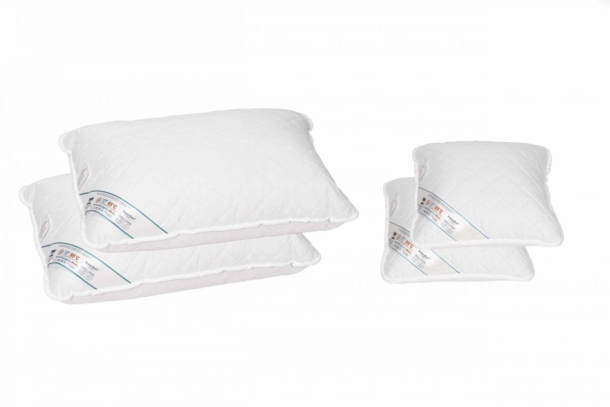 Set 2 perne 50×70 cm si 2 perne 40×40 cm HypoallergenicMed Somnart, microfibra matlasata, lavabile la 95 de grade, fermitate medie spre tare