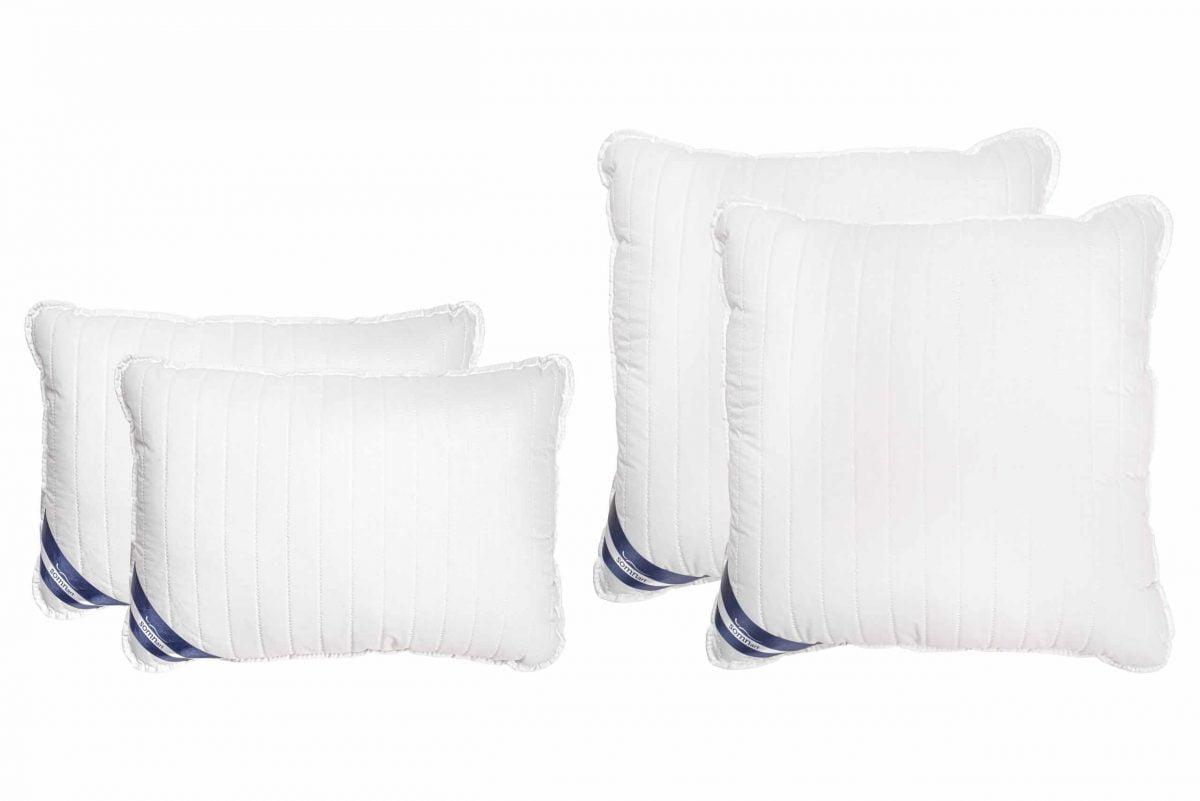 Set 4 Perne Somnart Policotton alb (2 perne 50×70 + 2 perne 70×70), model linii drepte